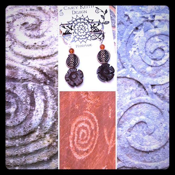 Floral Copper Spiral Earring